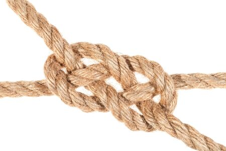 Knot joining two ropes isolated on white 版權商用圖片