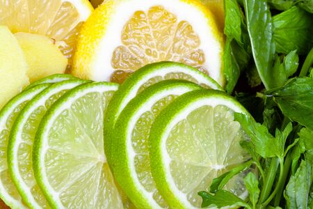 Cocktail ingredients, thin sliced fresh limes, lemons and ginger with green mint leaves close up Imagens