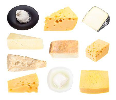 흰색으로 격리된 다양한 치즈 세트 스톡 콘텐츠