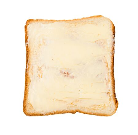 top view of open sandwich with toast and butter (bread and butter) isolated on white background