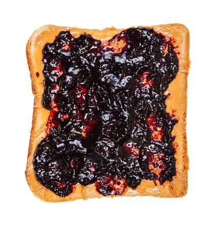 top view of open sandwich with toast and Peanut butter and blueberry jelly isolated on white background