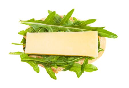 top view of open sandwich with fresh bread, cheese and green arugula leaves isolated on white background Stok Fotoğraf