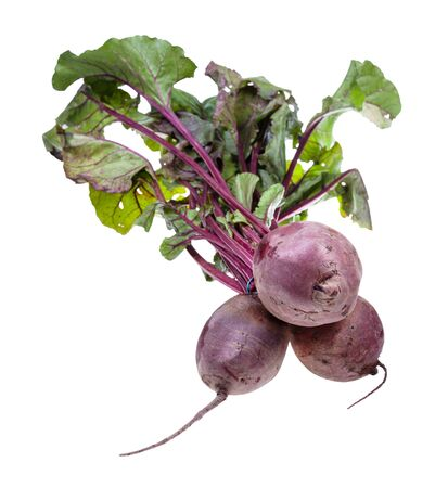 bunch of fresh organic garden beet roots with greens isolated on white background Imagens