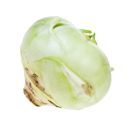ripe root of kohlrabi cabbage isolated on white background