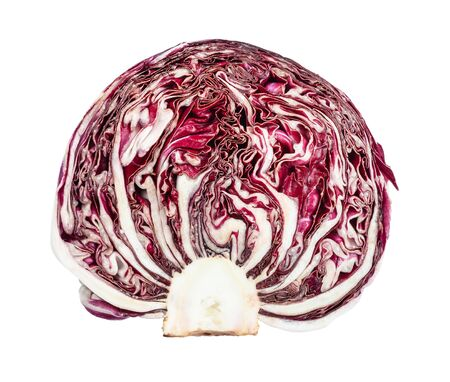 Cross-section of red cabbage cabbage head isolated on white Фото со стока