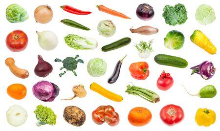 set of various fresh ripe vegetables isolated on white background