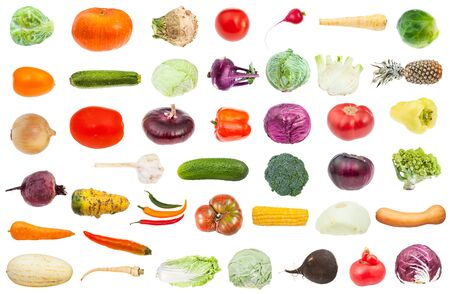 collage from various fresh ripe vegetables isolated on white background Stockfoto