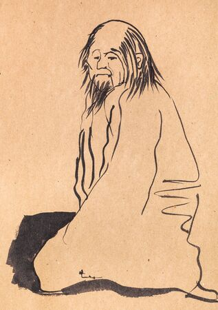Sitting chinese old man hand drawn in sumi-e style by black ink on kraft paper Foto de archivo