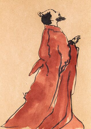 Old Chinese poet hand drawn in sumi-e style by watercolors on kraft paper