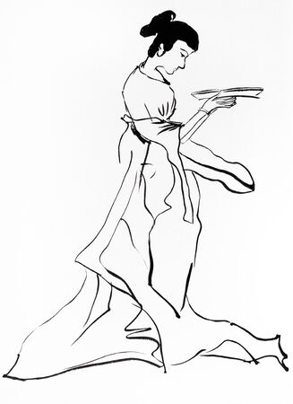 Lady holding plate hand drawn in sumi-e style by black ink on white paper