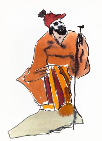 Old chinese landowner hand drawn in sumi-e style by watercolors ink on white paper