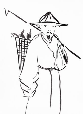 Chinese peasant with basket on the back hand drawn in sumi-e style by black ink on white paper
