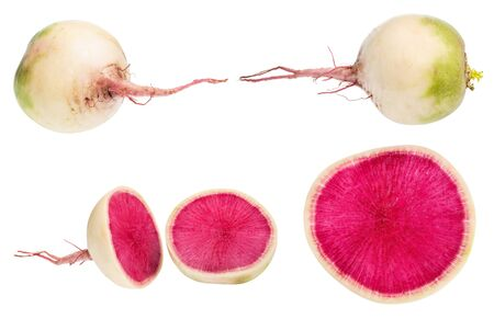 whole and cutted watermelon radishes isolated on white background Фото со стока