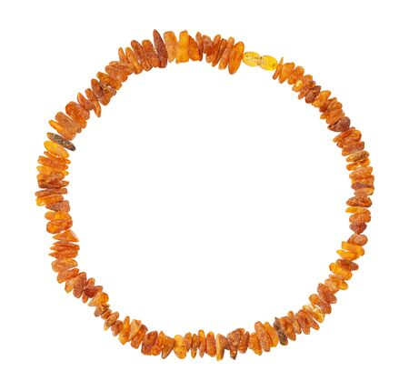 top view of necklace from natural rough amber nuggets isolated on white background Stockfoto