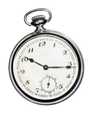 retro Pocket watch with white face isolated on white background