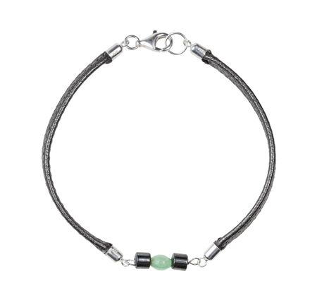 top view of hand crafted bracelet from leather lace and green jade and black hematite beads isolated on white background