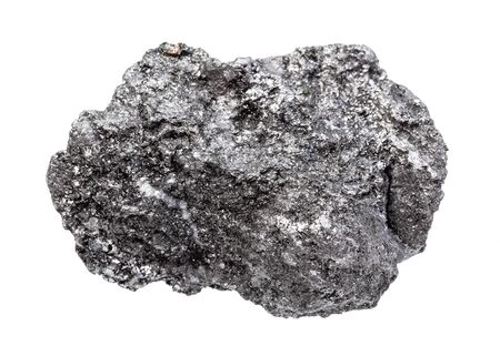 closeup of sample of natural mineral from geological collection - rough Graphite rock isolated on white background Imagens