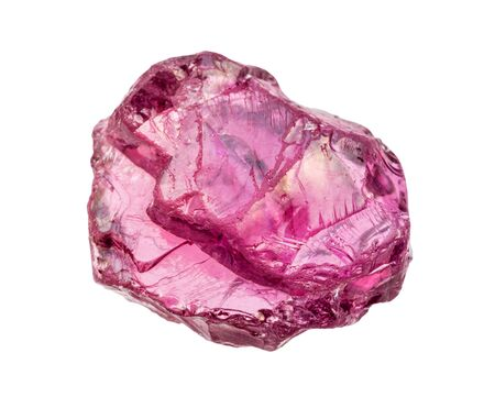 closeup of sample of natural mineral from geological collection - rough crystal of Rhodolite (pyrope garnet) isolated on white background