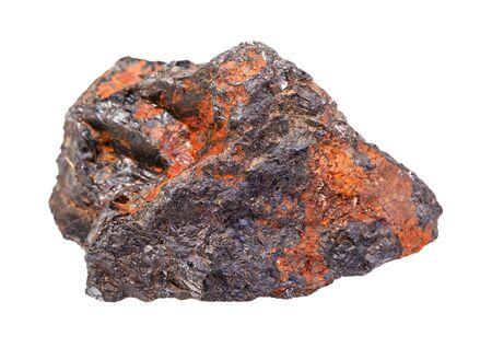 gros plan d'un échantillon de minéraux naturels de la collection géologique - roche de Wolframite (minerai de tungstène) isolée sur fond blanc