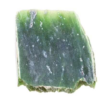 closeup of sample of natural mineral from geological collection - polished raw Nephrite (green jade) rock isolated on white background