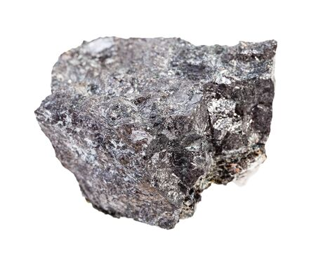 closeup of sample of natural mineral from geological collection - raw Magnetite ore isolated on white background