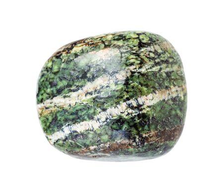 Primer plano de la muestra de mineral natural de la colección geológica - piedra preciosa de amianto crisotilo caído aislado sobre fondo blanco. Foto de archivo