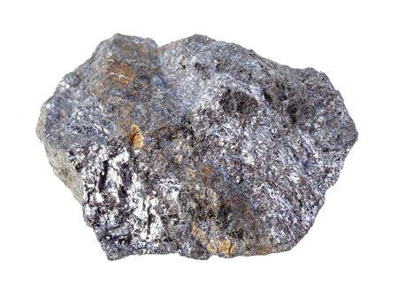 Primer plano de la muestra de mineral natural de la colección geológica - Galena cruda (Galenita, mirada de plomo) con roca de Calcopirita aislada sobre fondo blanco Foto de archivo