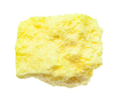 closeup of sample of natural mineral from geological collection - pure rough Sulphur (Sulfur) rock isolated on white background