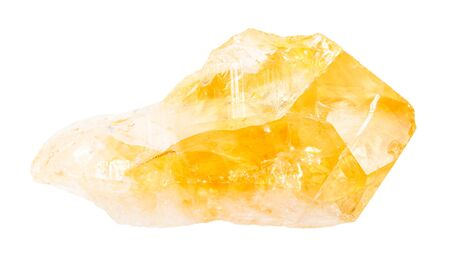 Nahaufnahme einer natürlichen Mineralprobe aus der geologischen Sammlung - unpolierter Citrin (gelber Quarz) Kristall isoliert auf weißem Hintergrund