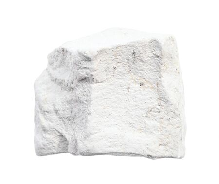 closeup of sample of natural mineral from geological collection - raw chalk (white limestone) rock isolated on white background