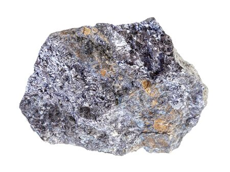 Nahaufnahme einer natürlichen Mineralprobe aus der geologischen Sammlung - grober Galenit (Galenit, Bleiglanz) mit Chalkopyrit-Gestein isoliert auf weißem Hintergrund Standard-Bild