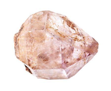 Gros plan de l'échantillon de minéraux naturels de la collection géologique - roche cristalline d'améthyste rugueuse isolée sur fond blanc