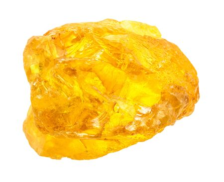 closeup of sample of natural mineral from geological collection - single Sulphur (Sulfur) nugget isolated on white background Stock Photo
