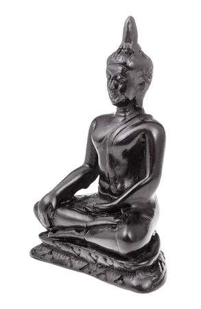 typical alabaster figurine of Earth Touching Buddha isolated on white background Banco de Imagens