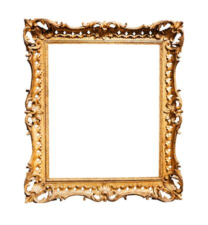 vertical baroque wooden picture frame with cutout canvas isolated on white background