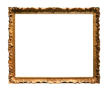 horizontal narrow baroque wooden picture frame with cutout canvas isolated on white background