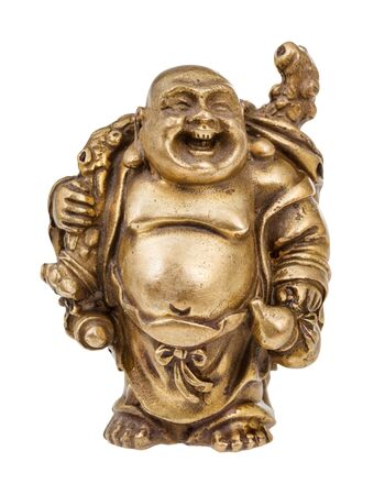 traditional chinese bronze figurine of Hotei (Fat Buddha) isolated on white background