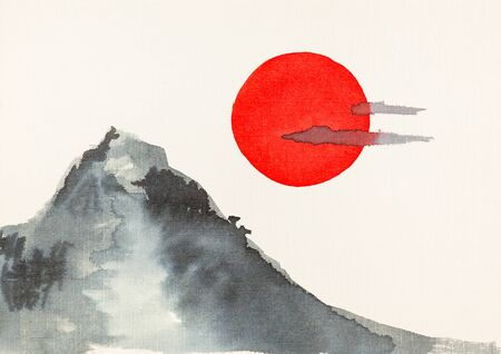 Mountain and red sun hand-drawn by watercolors on embossed cream paper