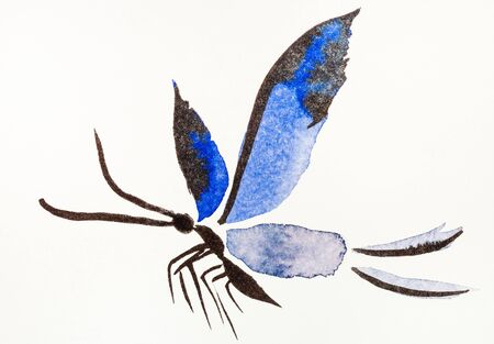 Butterfly with blue wings hand-drawn by watercolors on creamy-white paper