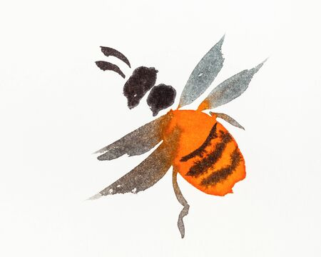 Orange bee hand-drawn by watercolors on creamy-white paper