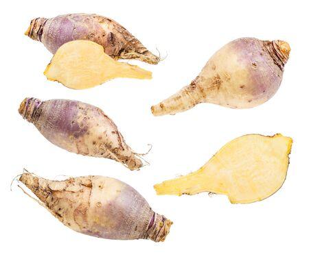 set of fresh rutabaga roots isolated on white background Stock fotó