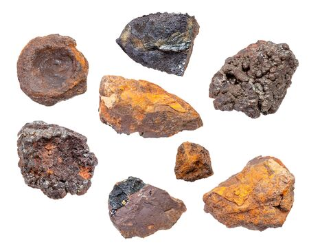set of various Bog Iron Ores isolated on white background Stockfoto
