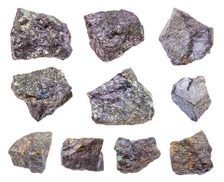 set of various Bornite rocks isolated on white background