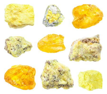 set of various Sulphur (Sulfur) minerals isolated on white background