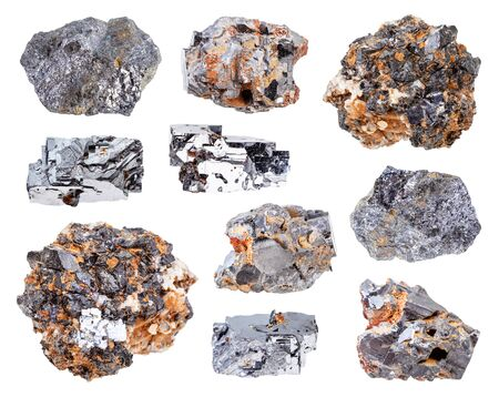 set of various Galena (Galenite, lead glance) rocks isolated on white background
