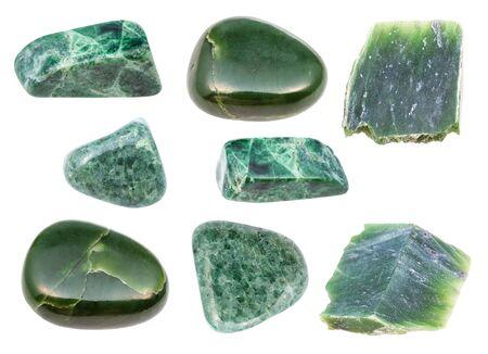 set of various green Jade gemstones isolated on white background