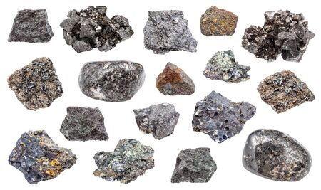 set of various Magnetite (iron ore) rocks isolated on white background