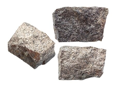set of Pyrrhotite (magnetic pyrite) rocks isolated on white background