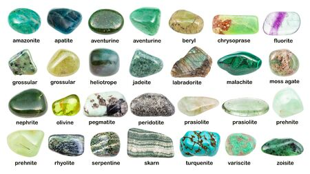 Collage of various green gemstones with names isolated on white