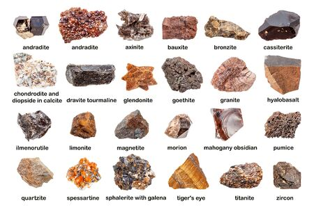 Set of various brown unpolished stones with names isolated on white